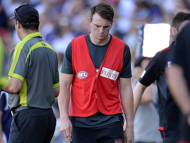Brendon Goddard looks dejected after being subbed out with injury. Picture: Daniel Wilkins