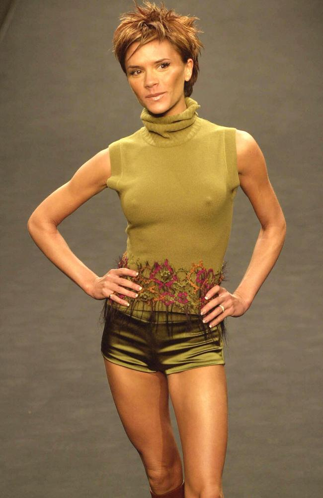 Beckham makes her debut for designer Maria Grachvogel's at London Fashion Week in 2000. Picture: AP/News Ltd