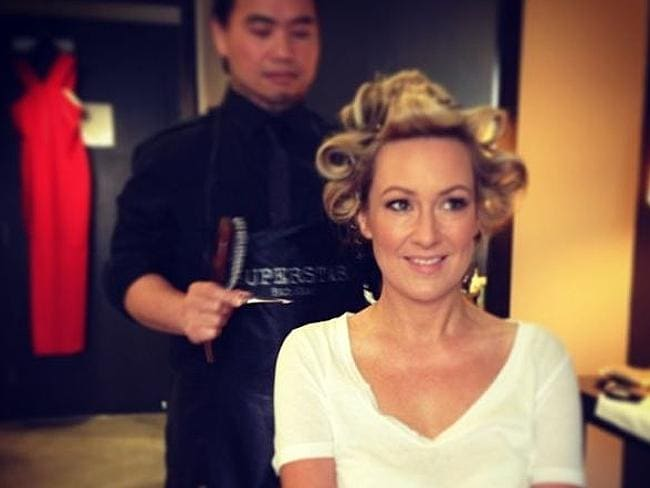 Melissa Doyle posted this snap of her in hair rollers getting red carpet ready for the Os