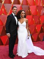 Janet Mock and her husband Aaron Tredwell. Photo: AFP