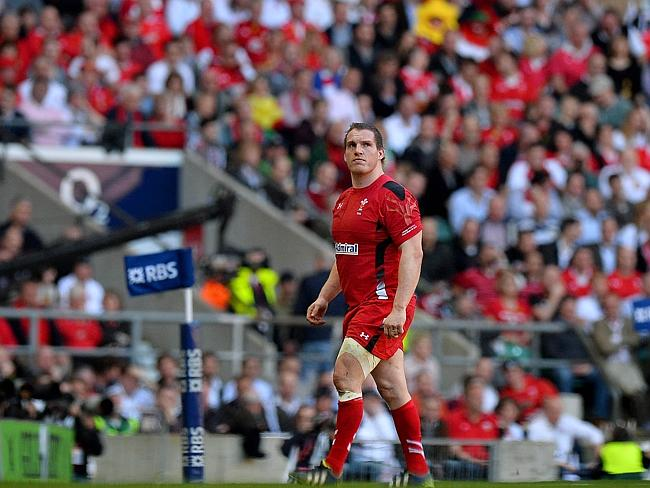 Wales prop Gethin Jenkins leaves the pitch after receiving a yellow card during the Six Nations match between England and Wales. Picture: Ben Stansall