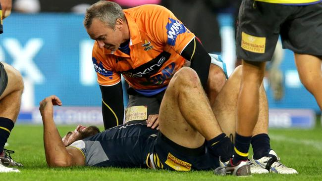 James Tamou down injured.