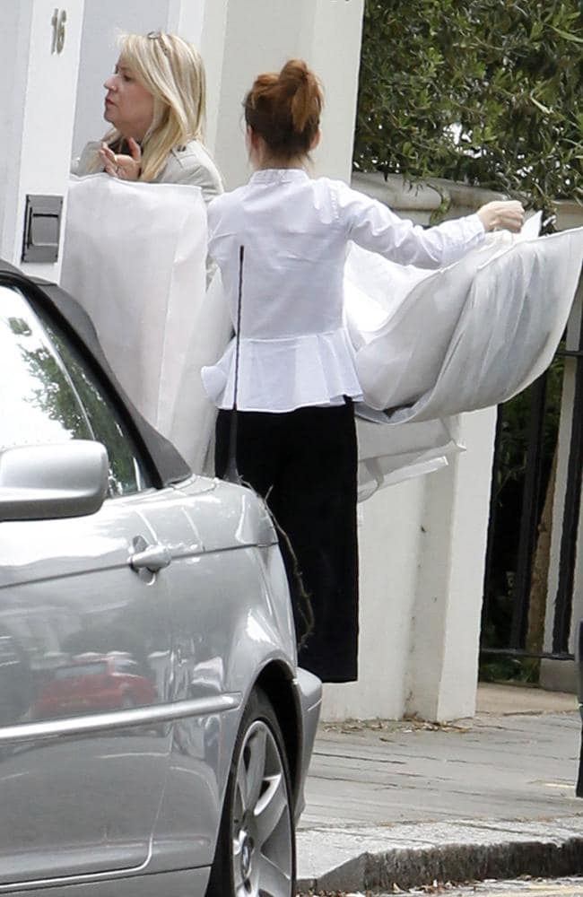 Outfits are delivered to Pippa Middleton's home in London ahead of her wedding tomorrow. Picture: Splash News.