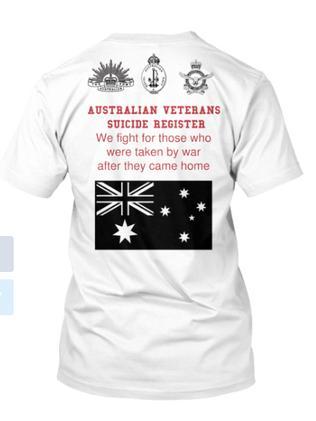 Australian Veterans Suicide Register. T Shirt for sale. Picture: Supplied