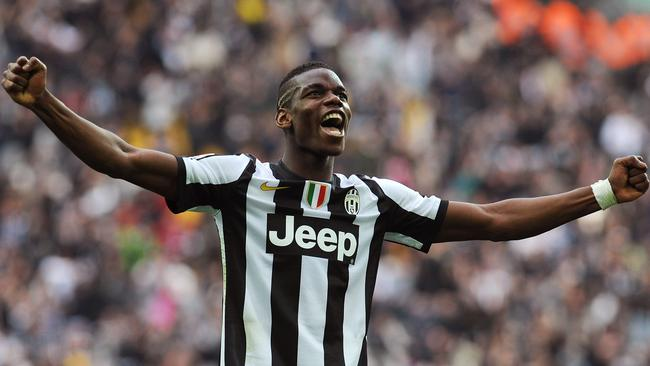 Paul Pogba of FC Juventus celebrates a goal against Catania at Juventus Arena.