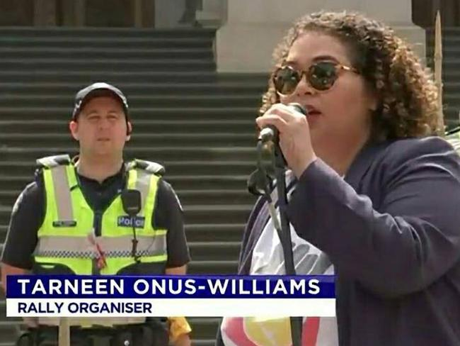 "Tarneen Onus-Williams, organiser with Warriors of the Aboriginal Resistance (WAR), at an Invasion Day rally in Melbourne said ""F. k Australia, I hope it f. king burns to the ground.'' Source: Channel 7"