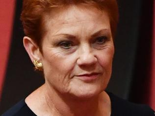 One Nation leader Senator Pauline Hanson in the Senate chamber after calling for the board of Australia Post to be sacked at Parliament House in Canberra, Wednesday, Feb. 15, 2017. (AAP Image/Mick Tsikas) NO ARCHIVING