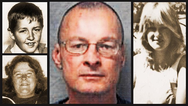Serial killer Paul Haigh (centre) and his victims Danny Mitchell, 9, his mother Sheryle Gardner, 31, (both left) and Lisa Maude Brearley, 19 (right).