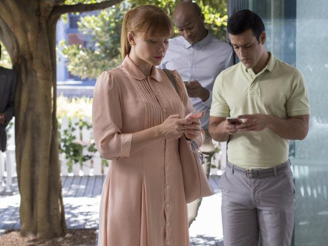 Bryce Dallas Howard in a scene from Black Mirror where users have a social rating that is affected by their interactions with others.