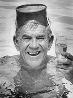 Lou enjoys some bubbly in a swimming pool in 1982.