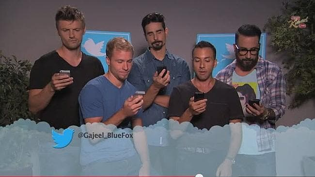 The Backstreet Boys read a mean tweet from a follower. Picture: Supplied