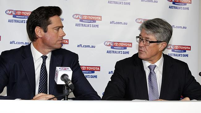 McLachlan and AFL chairman Mike Fitzpatrick. Picture: Wayne Ludbey