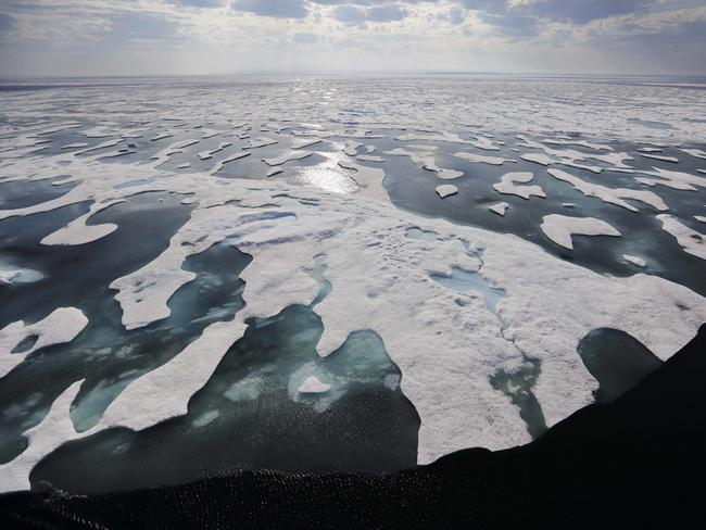 Sea ice melts on the Franklin Strait along the Northwest Passage in the Canadian Arctic Archipelago. Because of climate change, more sea ice is being lost each summer than is being replenished in winters. Picture: AP