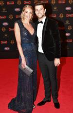 Richmond captain Trent Cotchin and Brooke Cotchin arrive at the Brownlow medal ceremony at Crown in Melbourne, Monday, September 25, 2017. Picture:AAP Image/Luis Ascui