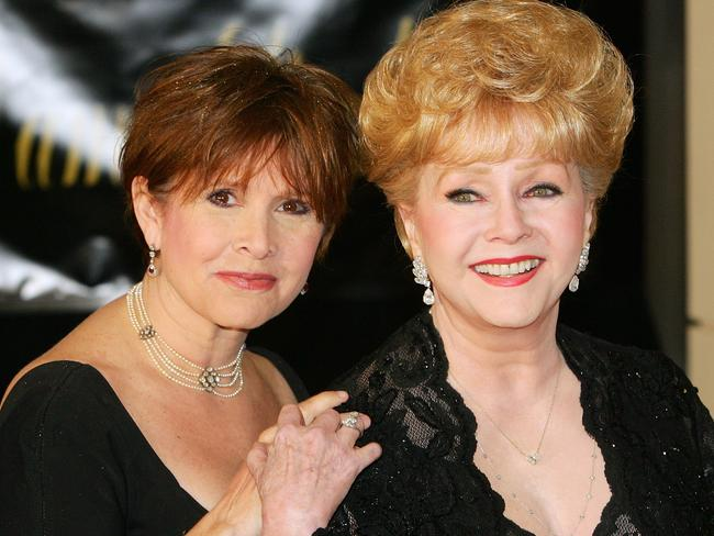 Carrie Fisher (left) and her mother, actress Debbie Reynolds, died just days apart. Picture: AFP/Getty/Ethan Miller