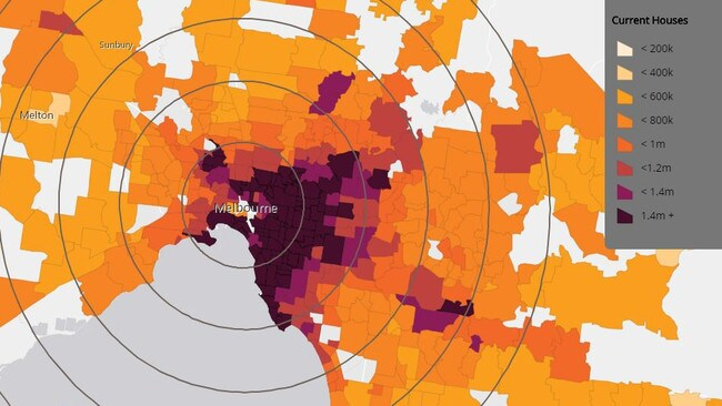 Mapping by data firm CoreLogic shows house prices in Melbourne's suburbs. More affordable housing, particularly in the city's west and north, is relatively close to the CBD. Picture: CoreLogic.