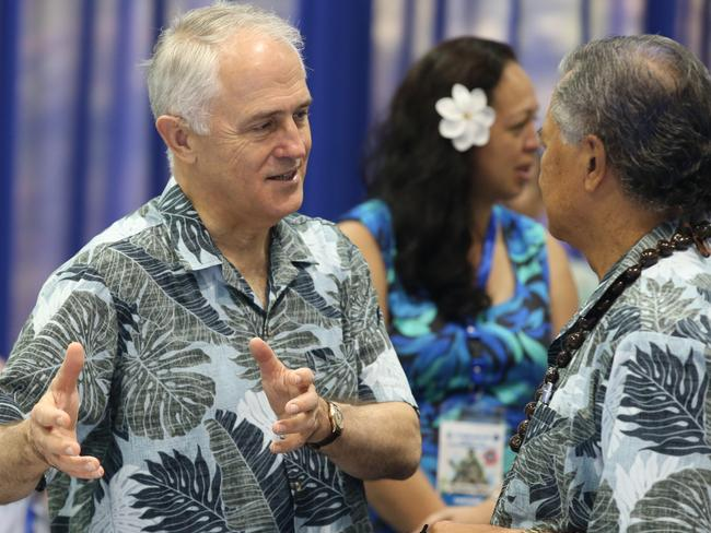 Australian PM Malcolm Turnbull spoke to Pacific Island leaders, including the PM of the Cook Islands Henry Puna, in Pohnpei, Micronesia. Picture: Lyndon Mechielsen/News Corp.