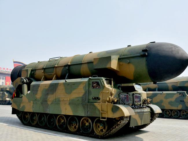A vehicle equipped with a launch tube for new medium-range ballistic missile Pukguksong-2 is seen during a military parade at Kim Il Sung Square in Pyongyang. Picture: Supplied