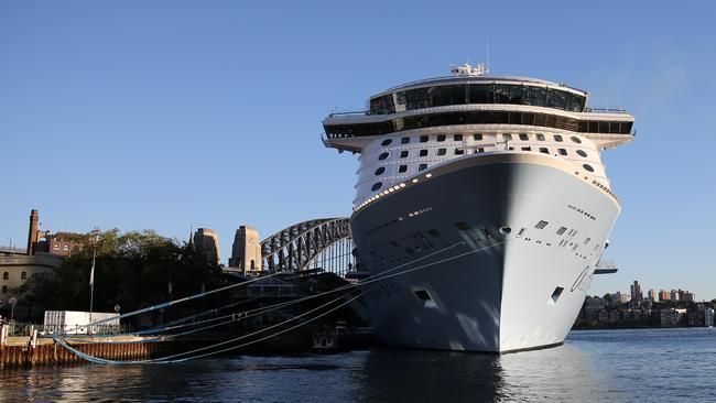 Ovation of the Seas arrives into Sydney Harbour early today. Picture: John Grainger