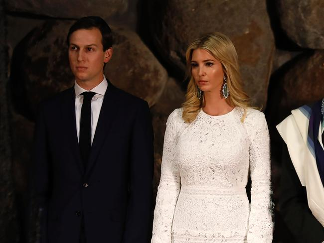 "Trump's ""friends"" who accompanied him to the museum were his Jewish son-in-law and White House senior advisor Jared Kushner and daughter Ivanka. Picture: GALI TIBBON / AFP"