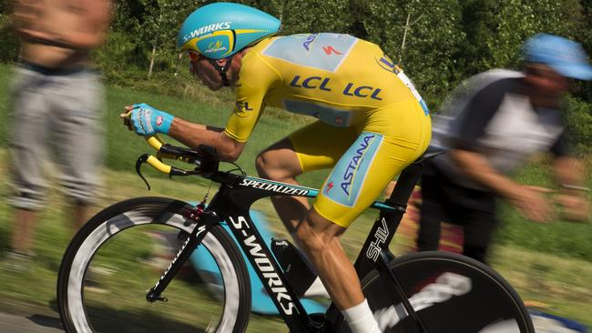 Nibali wearing the overall leader's yellow jersey rides during the twentieth stage.