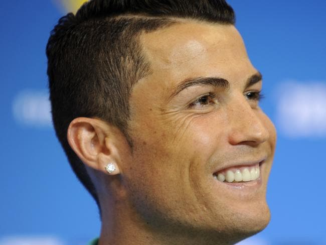 Portugal's Cristiano Ronaldo seemed happy enough during the press conference.