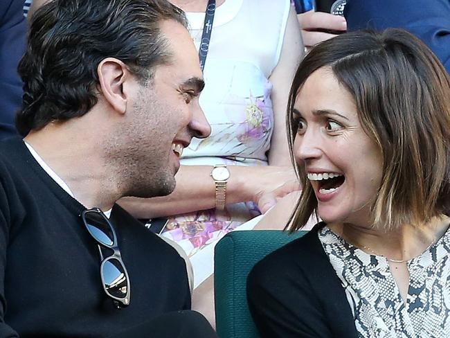 Goofing around ... Bobby Cannavale and Rose Byrne at the Australian Open. Picture: Julie Kiriacoudis