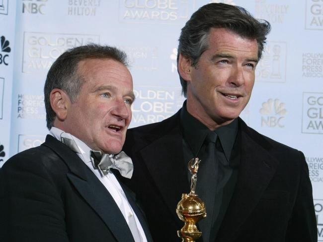 Old friends ... Pierce Brosnan presents Robin Williams with a Cecil B. DeMille Award at the 2005 Golden Globes.