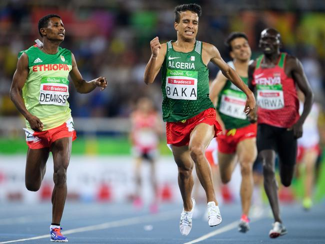Algeria's Abdellatif Baka narrowly wins the gold.