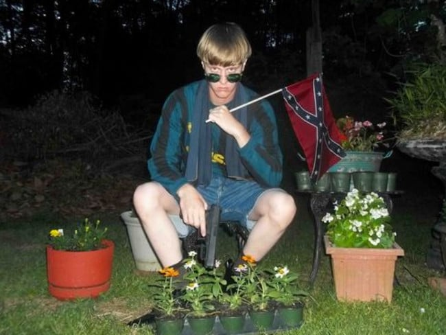 Charleston suspect Dylann Roof poses with a gun and the Confederate flag.