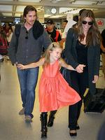<p>Christian Bale, a.k.a. Batman arrives in New York with his wife, Sibi Blazic and daughter, Emmeline Bale. Picture: Aaron St Clair / Splash News</p>