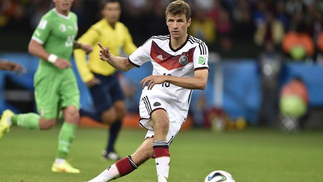 Germany's forward Thomas Mueller controls the ball during a Round of 16 football match between Germany and Algeria.