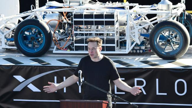 Elon Musk speaks to participants ahead of testing of their pods in the SpaceX Hyperloop competition in Hawthorne, California on January 29, 2017. Picture: Gene Blevins