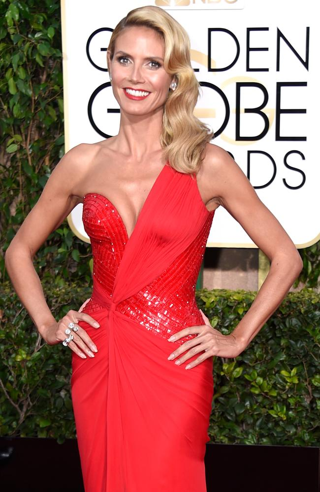 Glam mode suits Heidi Klum, photographed at the Golden Globes last month. Picture: Getty Images