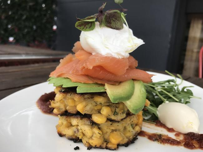 Corn fritters with smoked salmon. Pictures: Jenifer Jagielski