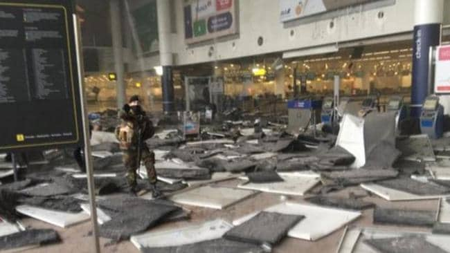 The aftermath of the two explosions at the Brussels Airport. Picture: Twitter.