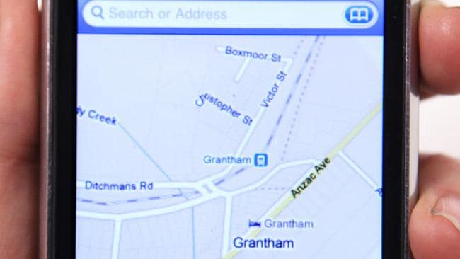 Location location ... the Google Maps-based software on an iPhone shows a view of Grantham in Queensland.