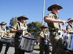 The Australian Army Cadet Band marching at the Caloundra Anzac Day Parade. Picture: Lachie Millard