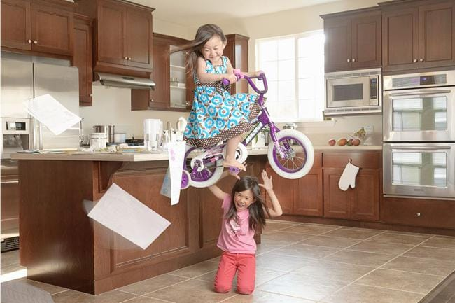 Mum said no riding bikes in the house. Picture: Jason Lee