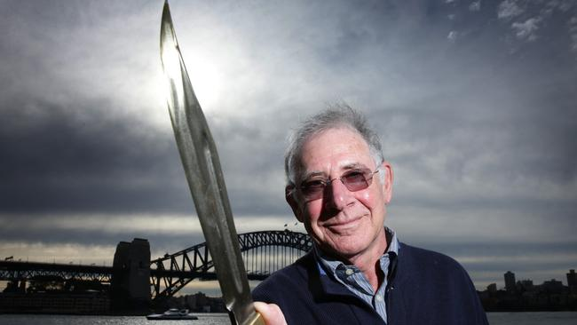 Film director Peter Faiman in Sydney with the Crocodile Dundee knife. Picture: News Corp