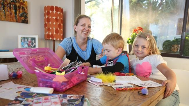 Lisa Hodgkins with Olivia-Rose (6) and James (3) at their apartment. Picture: Bob Barker