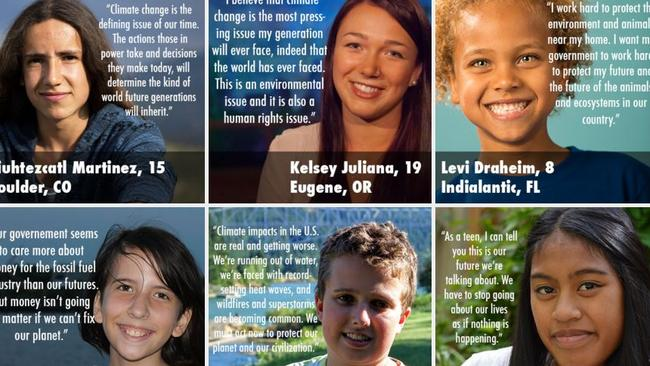 Some of the young people who are suing the US government over climate change. Source: Our Children's Trust.
