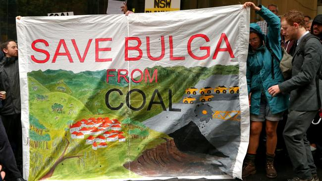 Bulga township brings Rio Tinto mine fight to Sydney by protesting near NSW Premier Mike Baird's office. Picture: Adam Taylor