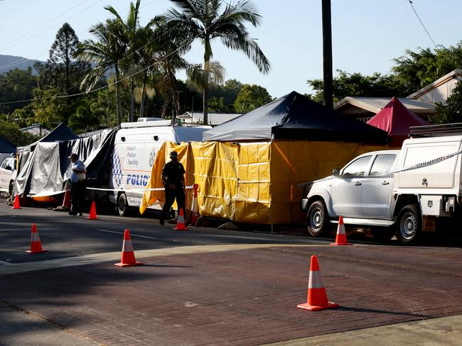 The crime scene at Murray Street, Manoora. Picture: Stewart McLean