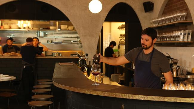 Sommelier Julien Dromgool at Chippendale eatery Ester which can have as many as 15 orange wines on its menu at a time.