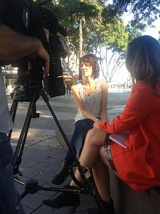 Conducting an interview with Channel 7 as part of her role at the Manly Chamber of Commer