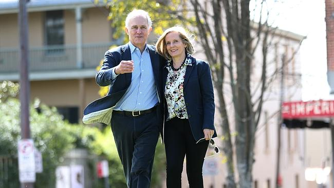 Malcolm Turnbull and his wife Lucy walk together at the Paddington Reservoir after greeting members of the public on Oxford Street.