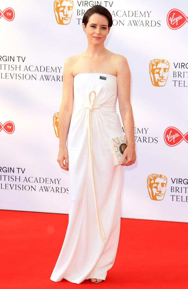 The Crown's Claire Foy, who played young Queen Elizabeth II, sported an underwhelming white dress. Picture: MEGA