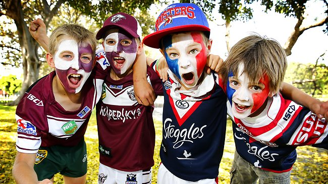 Luca Dailly 12, Dylan Dailly 8, Rex Whale, 8, and Cooper Grant, 8, are Manly Sea Eagles and Sydney Rooster are excited ahead of Sunday's NRL Grand Final. Picture: Bradley Hunter