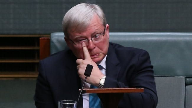 Kevin Rudd after resigning in the House of Representatives. Picture: Kym Smith